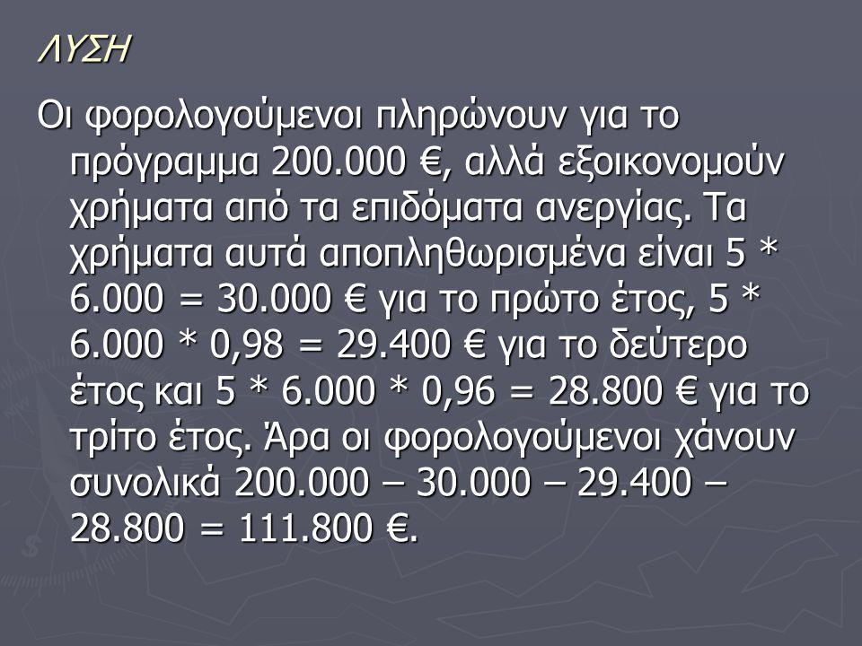 ΛΥΣΗ Οι φορολογούμενοι πληρώνουν για το πρόγραμμα 200.000 €, αλλά εξοικονομούν χρήματα από τα επιδόματα ανεργίας.