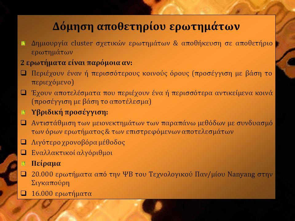 Πρωτόκολλο πειράματος Δημιουργία διαφορετικών συνόλων clusters ερωτημάτων βάσει διαφόρων προσεγγίσεων Υποβολή ερωτήματος σε μια ΜΑ (ΨΒ Nanyang) & ανάκτηση των URLs από τα επιστρεφόμενα αποτελέσματα 10 πρώτα URLs από τα επιστρεφόμενα αποτελέσματα Τα URLs χρησιμοποιήθηκαν για τον υπολογισμό της ομοιότητας Καθορισμός τιμών & παραμέτρων του αλγορίθμου Μέτρηση ποιότητας των clusters ερωτημάτων με το F-measure (συνδυασμός ακρίβειας & ανάκλησης με εύρος τιμών 0-1) Όσο αυξάνει το F-measure τόσο καλύτερη είναι η ποιότητα του cluster ερωτημάτων