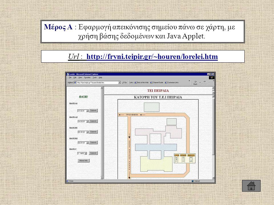 Μέρος Α : Εφαρμογή απεικόνισης σημείου πάνω σε χάρτη, με χρήση βάσης δεδομένων και Java Applet. Url Url : http://fryni.teipir.gr/~houren/lorelei.htmht