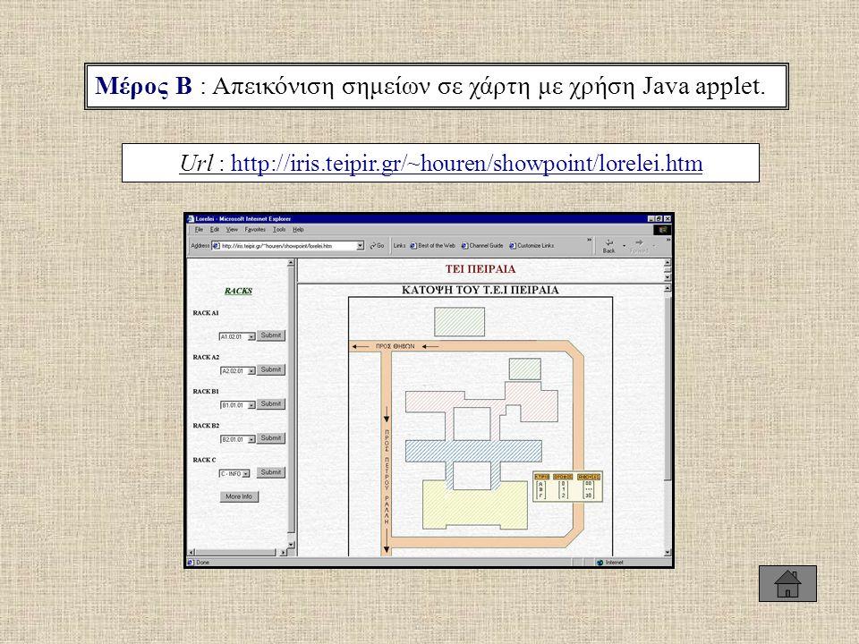 Μέρος Β : Απεικόνιση σημείων σε χάρτη με χρήση Java applet. Url : http://iris.teipir.gr/~houren/showpoint/lorelei.htmhttp://iris.teipir.gr/~houren/sho