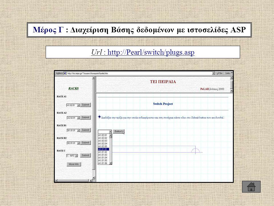 Μέρος Γ : Διαχείριση Βάσης δεδομένων με ιστοσελίδες ASP Url : http://Pearl/switch/plugs.asphttp://Pearl/switch/plugs.asp
