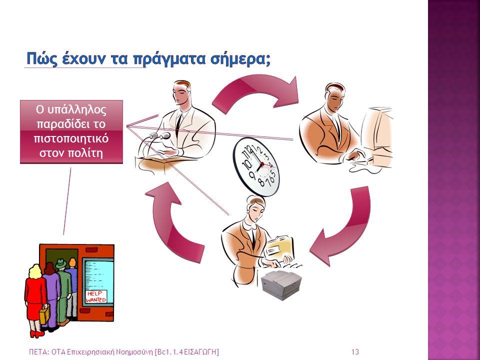 Ο πολίτης καταθέτει την αίτηση του στο Δημοτολόγιο Ο υπάλληλος παραλαμβάνει την αίτηση Ο υπάλληλος αναζητά τα στοιχεία της αιτησης Ο υπάλληλος εκτυπώνει παραλαμβάνει το πιστοποιητικό Ο υπάλληλος παραδίδει το πιστοποιητικό στον πολίτη 13 ΠΕΤΑ: ΟΤΑ Επιχειρησιακή Νοημοσύνη [Bc1.1.4 ΕΙΣΑΓΩΓΗ]