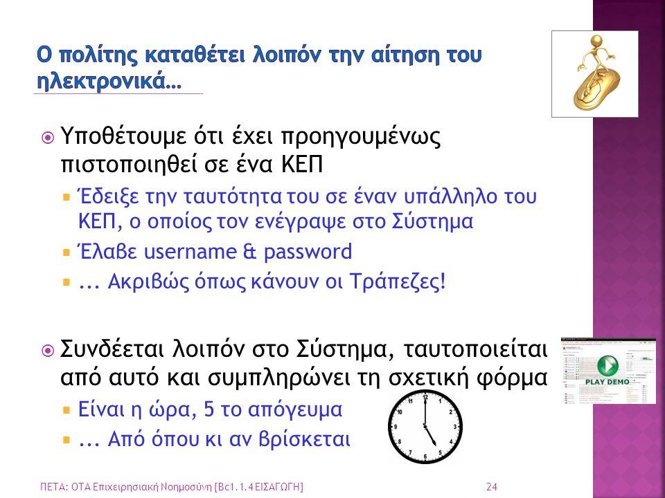  Υποθέτουμε ότι έχει προηγουμένως πιστοποιηθεί σε ένα ΚΕΠ  Έδειξε την ταυτότητα του σε έναν υπάλληλο του ΚΕΠ, ο οποίος τον ενέγραψε στο Σύστημα  Έλαβε username & password ...