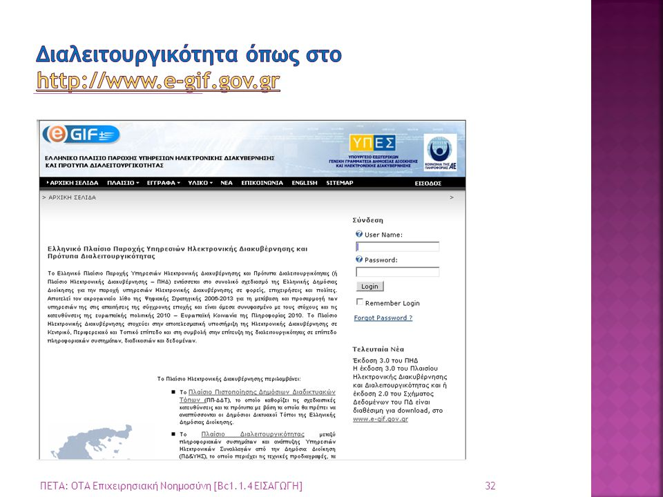 32 ΠΕΤΑ: ΟΤΑ Επιχειρησιακή Νοημοσύνη [Bc1.1.4 ΕΙΣΑΓΩΓΗ]