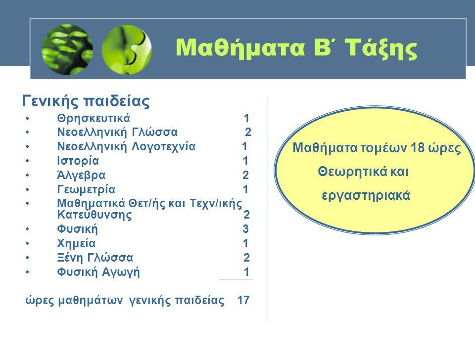 Μαθήματα Β΄ Τάξης Θρησκευτικά 1 Νεοελληνική Γλώσσα 2 Νεοελληνική Λογοτεχνία 1 Ιστορία 1 Άλγεβρα 2 Γεωμετρία 1 Μαθηματικά Θετ/ής και Τεχν/ικής Κατεύθυν