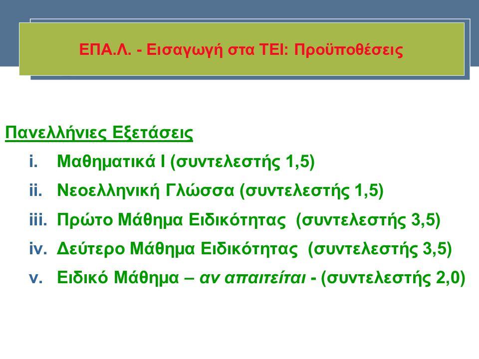 Πανελλήνιες Εξετάσεις i.Μαθηματικά Ι (συντελεστής 1,5) ii.Νεοελληνική Γλώσσα (συντελεστής 1,5) iii.Πρώτο Μάθημα Ειδικότητας (συντελεστής 3,5) iv.Δεύτε