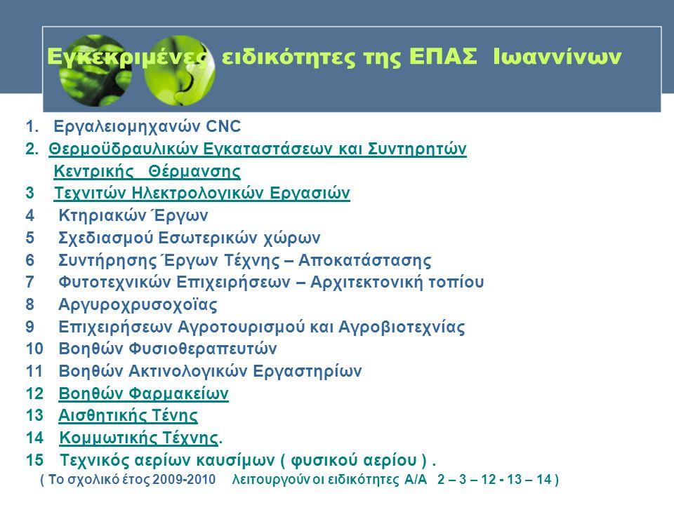 Εγκεκριμένες ειδικότητες της ΕΠΑΣ Ιωαννίνων 1. Εργαλειομηχανών CNC 2. Θερμοϋδραυλικών Εγκαταστάσεων και Συντηρητών Κεντρικής Θέρμανσης 3 Τεχνιτών Ηλεκ