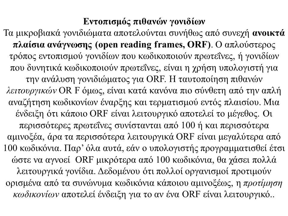 Εντοπισμός πιθανών γονιδίων Τα μικροβιακά γονιδιώματα αποτελούνται συνήθως από συνεχή ανοικτά πλαίσια ανάγνωσης (open reading frames, ORF). Ο απλούστε