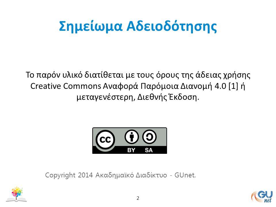 Σημείωμα Αδειοδότησης Το παρόν υλικό διατίθεται με τους όρους της άδειας χρήσης Creative Commons Αναφορά Παρόμοια Διανομή 4.0 [1] ή μεταγενέστερη, Διεθνής Έκδοση.