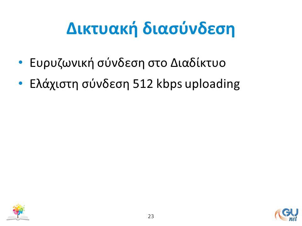 Δικτυακή διασύνδεση Ευρυζωνική σύνδεση στο Διαδίκτυο Ελάχιστη σύνδεση 512 kbps uploading 23