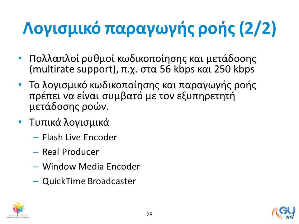 Λογισμικό παραγωγής ροής (2/2) Πολλαπλοί ρυθμοί κωδικοποίησης και μετάδοσης (multirate support), π.χ.