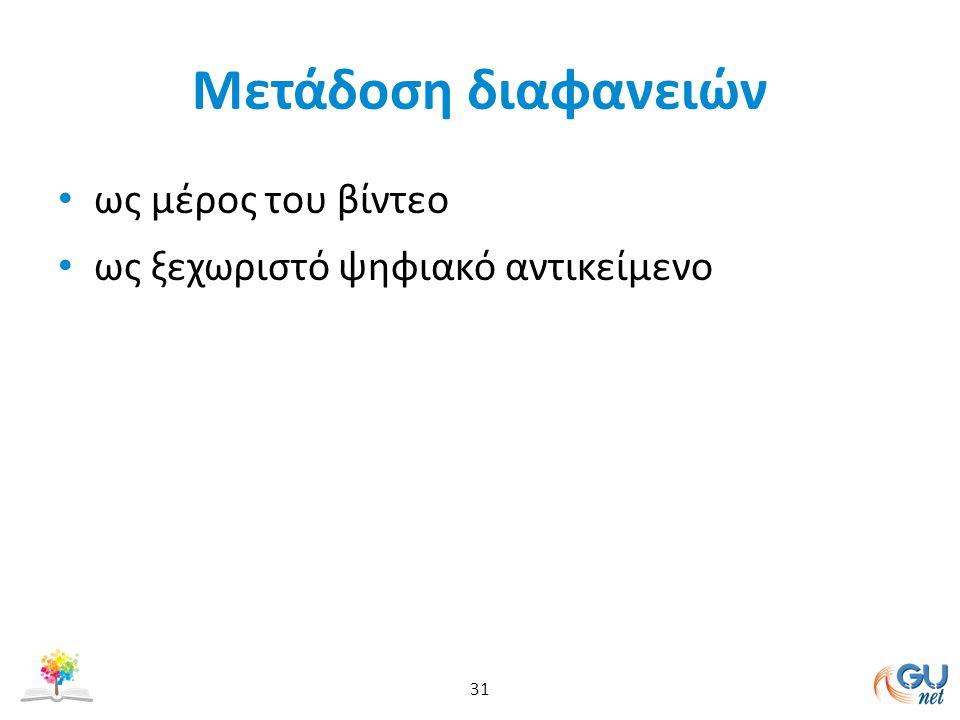 Mετάδοση διαφανειών ως μέρος του βίντεο ως ξεχωριστό ψηφιακό αντικείμενο 31