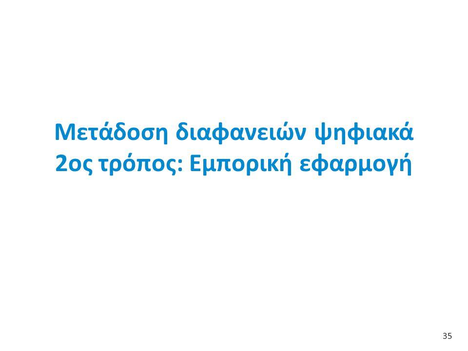 Μετάδοση διαφανειών ψηφιακά 2ος τρόπος: Εμπορική εφαρμογή 35