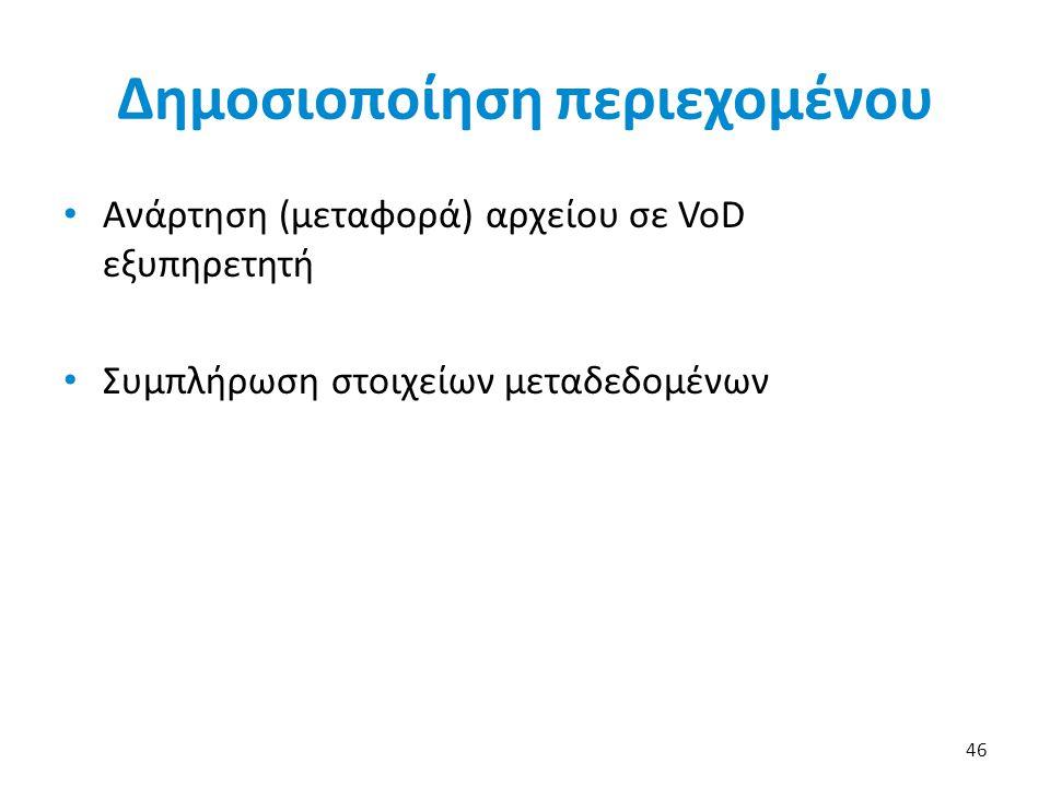 Δημοσιοποίηση περιεχομένου Ανάρτηση (μεταφορά) αρχείου σε VoD εξυπηρετητή Συμπλήρωση στοιχείων μεταδεδομένων 46