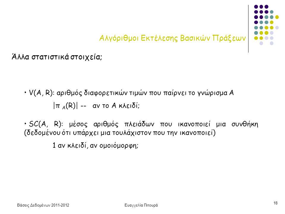 Βάσεις Δεδομένων 2011-2012Ευαγγελία Πιτουρά 18 Αλγόριθμοι Εκτέλεσης Βασικών Πράξεων Άλλα στατιστικά στοιχεία; V(A, R): αριθμός διαφορετικών τιμών που παίρνει το γνώρισμα Α |π Α (R)| -- αν το Α κλειδί; SC(A, R): μέσος αριθμός πλειάδων που ικανοποιεί μια συνθήκη (δεδομένου ότι υπάρχει μια τουλάχιστον που την ικανοποιεί) 1 αν κλειδί, αν ομοιόμορφη;