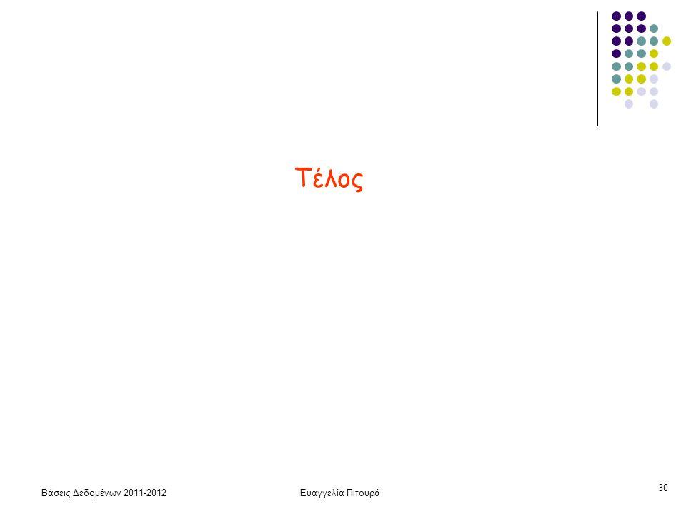 Βάσεις Δεδομένων 2011-2012Ευαγγελία Πιτουρά 30 Τέλος
