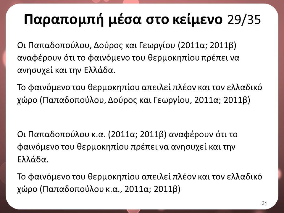 Παραπομπή μέσα στο κείμενο 29/35 Οι Παπαδοπούλου, Δούρος και Γεωργίου (2011α; 2011β) αναφέρουν ότι το φαινόμενο του θερμοκηπίου πρέπει να ανησυχεί και την Ελλάδα.
