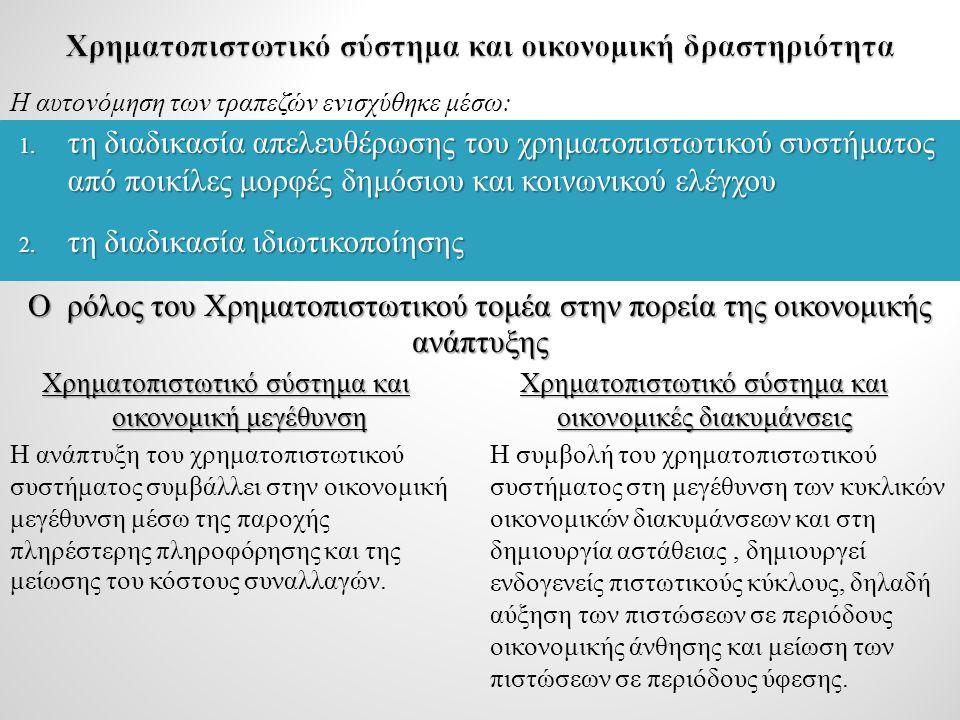 Ελληνική οικονομία και εγχώριο τραπεζικό σύστημα Ο ρόλος των ελληνικών τραπεζών στην κινητοποίηση των αποταμιεύσεων και στη χρηματοδότηση του ιδιωτικού τομέα αυξήθηκε, όπως και στην ευρωζώνη.