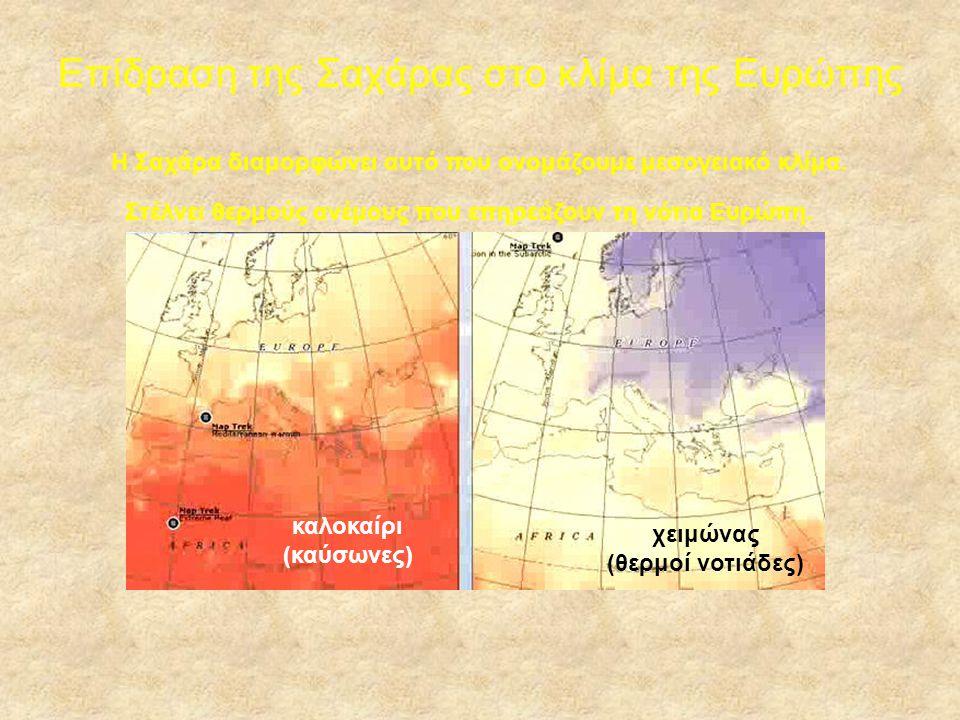 Επίδραση της Σαχάρας στο κλίμα της Ευρώπης καλοκαίρι (καύσωνες) χειμώνας (θερμοί νοτιάδες) Στέλνει θερμούς ανέμους που επηρεάζουν τη νότια Ευρώπη. Η Σ