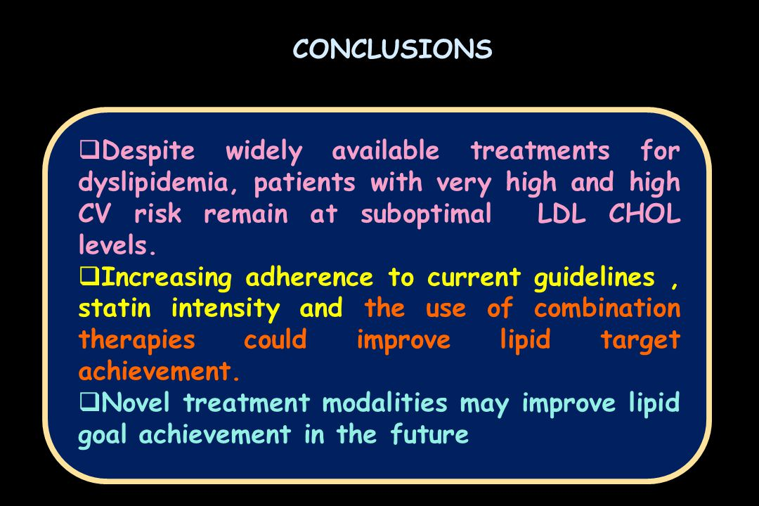 CONCLUSIONS  Despite widely available treatments for dyslipidemia, patients with very high and high CV risk remain at suboptimal LDL CHOL levels.