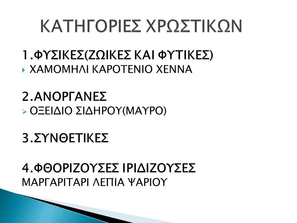 1.ΦΥΣΙΚΕΣ(ΖΩΙΚΕΣ ΚΑΙ ΦΥΤΙΚΕΣ)  ΧΑΜΟΜΗΛΙ ΚΑΡΟΤΕΝΙΟ ΧΕΝΝΑ 2.ΑΝΟΡΓΑΝΕΣ  ΟΞΕΙΔΙΟ ΣΙΔΗΡΟΥ(ΜΑΥΡΟ) 3.ΣΥΝΘΕΤΙΚΕΣ 4.ΦΘΟΡΙΖΟΥΣΕΣ ΙΡΙΔΙΖΟΥΣΕΣ ΜΑΡΓΑΡΙΤΑΡΙ ΛΕΠΙΑ