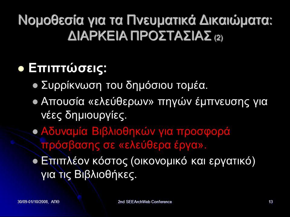 30/09-01/10/2008, ΑΠΘ2nd SEEArchWeb Conference13 Νομοθεσία για τα Πνευματικά Δικαιώματα : ΔΙΑΡΚΕΙΑ ΠΡΟΣΤΑΣΙΑΣ (2) Επιπτώσεις: Συρρίκνωση του δημόσιου τομέα.