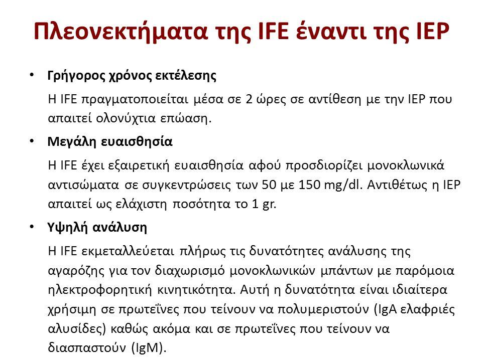 Πλεονεκτήματα της IFE έναντι της IEP Γρήγορος χρόνος εκτέλεσης Η IFE πραγματοποιείται μέσα σε 2 ώρες σε αντίθεση με την IEP που απαιτεί ολονύχτια επώαση.