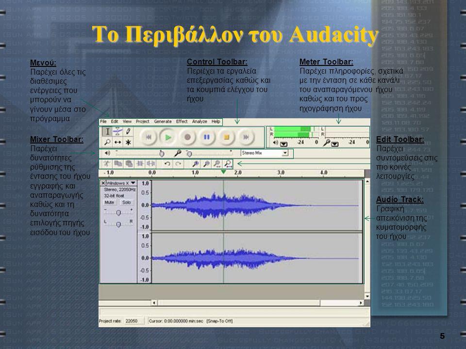 5 Το Περιβάλλον του Audacity Μενού: Παρέχει όλες τις διαθέσιμες ενέργειες που μπορούν να γίνουν μέσα στο πρόγραμμα Control Toolbar: Περιέχει τα εργαλεία επεξεργασίας καθώς και τα κουμπιά ελέγχου του ήχου Meter Toolbar: Παρέχει πληροφορίες, σχετικά με την ένταση σε κάθε κανάλι, του αναπαραγόμενου ήχου καθώς και του προς ηχογράφηση ήχου Mixer Toolbar: Παρέχει δυνατότητες ρύθμισης της έντασης του ήχου εγγραφής και αναπαραγωγής καθώς και τη δυνατότητα επιλογής πηγής εισόδου του ήχου Edit Toolbar: Παρέχει συντομεύσεις στις πιο κοινές λειτουργίες Audio Track: Γραφική απεικόνιση της κυματομορφής του ήχου