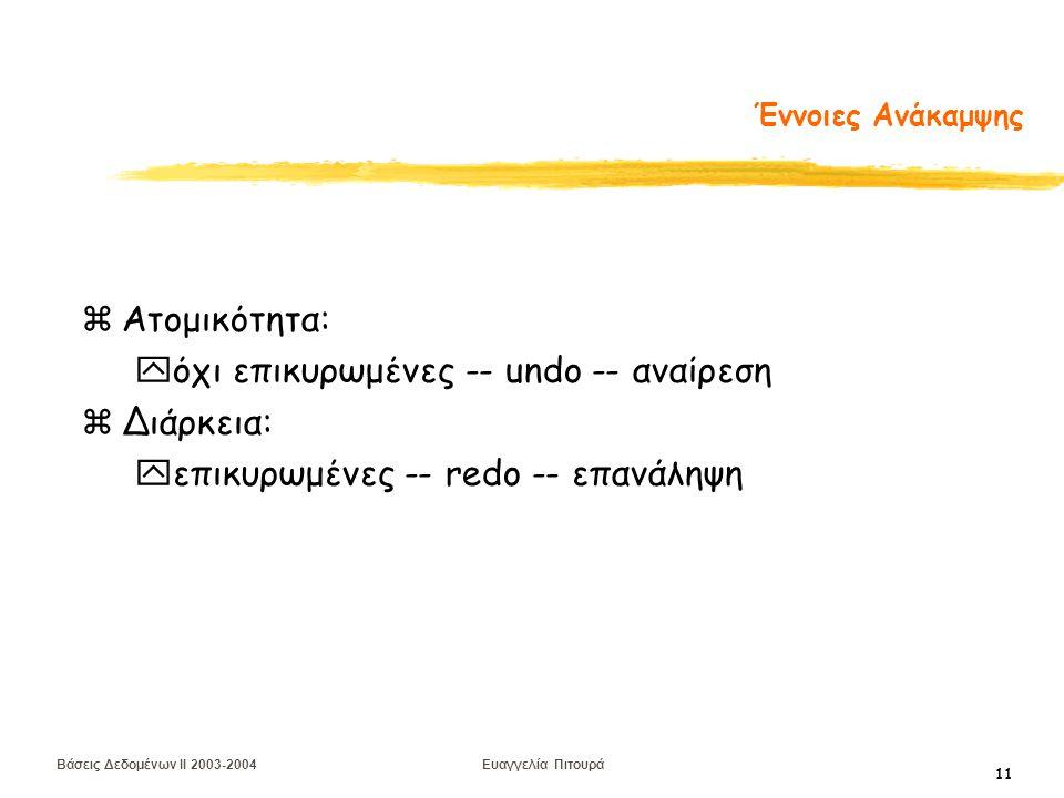 Βάσεις Δεδομένων II 2003-2004 Ευαγγελία Πιτουρά 11 Έννοιες Ανάκαμψης zΑτομικότητα: yόχι επικυρωμένες -- undo -- αναίρεση zΔιάρκεια: yεπικυρωμένες -- redo -- επανάληψη