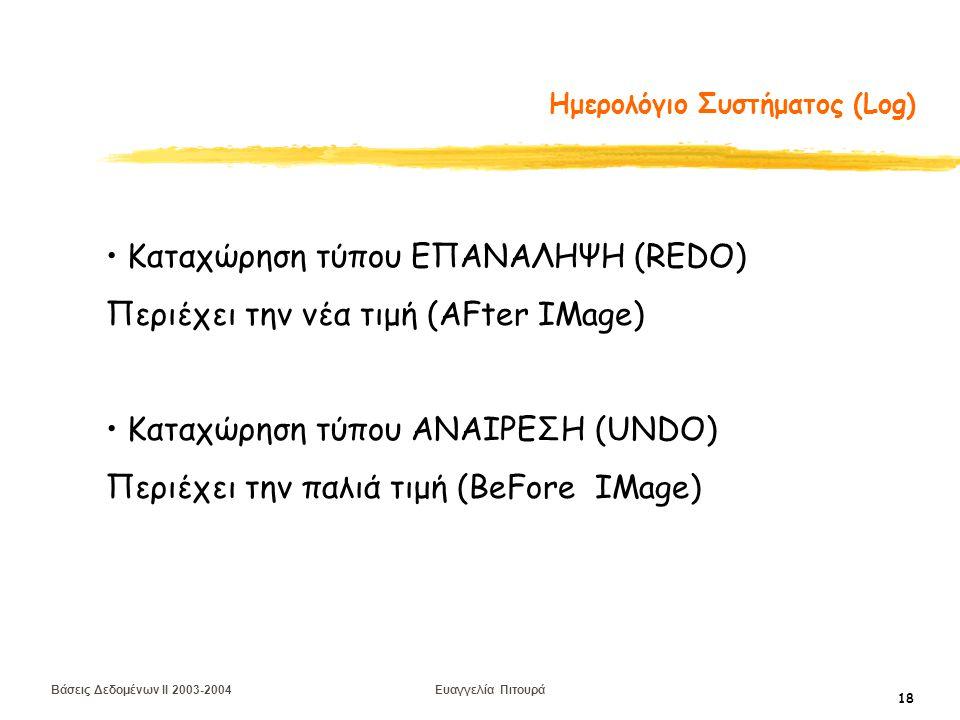Βάσεις Δεδομένων II 2003-2004 Ευαγγελία Πιτουρά 18 Ημερολόγιο Συστήματος (Log) Καταχώρηση τύπου ΕΠΑΝΑΛΗΨΗ (REDO) Περιέχει την νέα τιμή (AFter IMage) Καταχώρηση τύπου ANAIΡΕΣΗ (UNDO) Περιέχει την παλιά τιμή (BeFore IMage)
