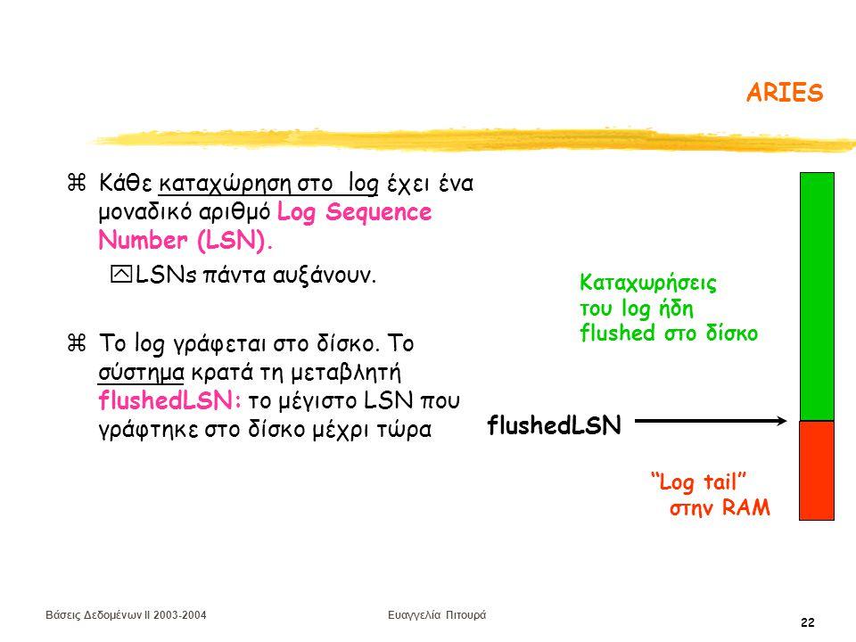 Βάσεις Δεδομένων II 2003-2004 Ευαγγελία Πιτουρά 22 ARIES zΚάθε καταχώρηση στο log έχει ένα μοναδικό αριθμό Log Sequence Number (LSN).