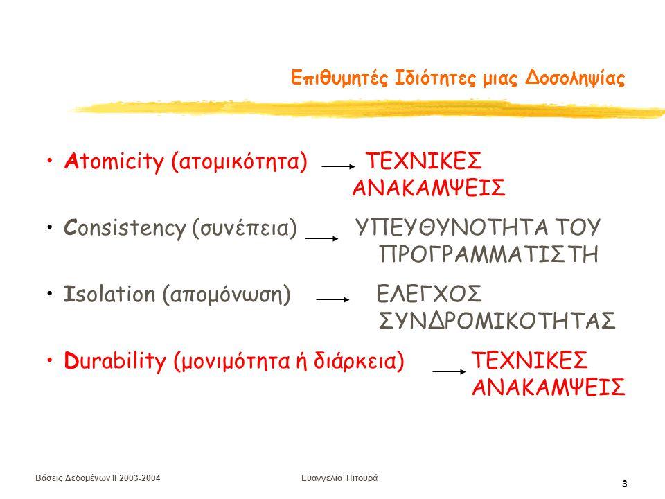 Βάσεις Δεδομένων II 2003-2004 Ευαγγελία Πιτουρά 3 Επιθυμητές Ιδιότητες μιας Δοσοληψίας Αtomicity (ατομικότητα) ΤΕΧΝΙΚΕΣ ΑΝΑΚΑΜΨΕΙΣ Consistency (συνέπεια) ΥΠΕΥΘΥΝΟΤΗΤΑ ΤΟΥ ΠΡΟΓΡΑΜΜΑΤΙΣΤΗ Isolation (απομόνωση) ΕΛΕΓΧΟΣ ΣΥΝΔΡΟΜΙΚΟΤΗΤΑΣ Durability (μονιμότητα ή διάρκεια) ΤΕΧΝΙΚΕΣ ΑΝΑΚΑΜΨΕΙΣ