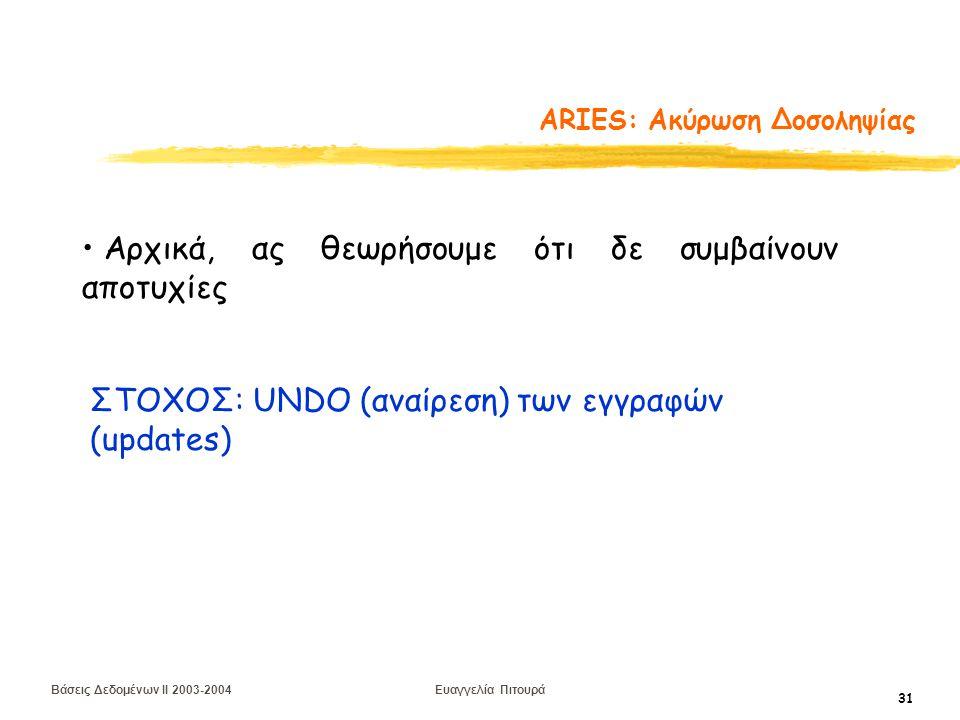 Βάσεις Δεδομένων II 2003-2004 Ευαγγελία Πιτουρά 31 ARIES: Aκύρωση Δοσοληψίας Αρχικά, ας θεωρήσουμε ότι δε συμβαίνουν αποτυχίες ΣΤΟΧΟΣ: UNDO (αναίρεση) των εγγραφών (updates)