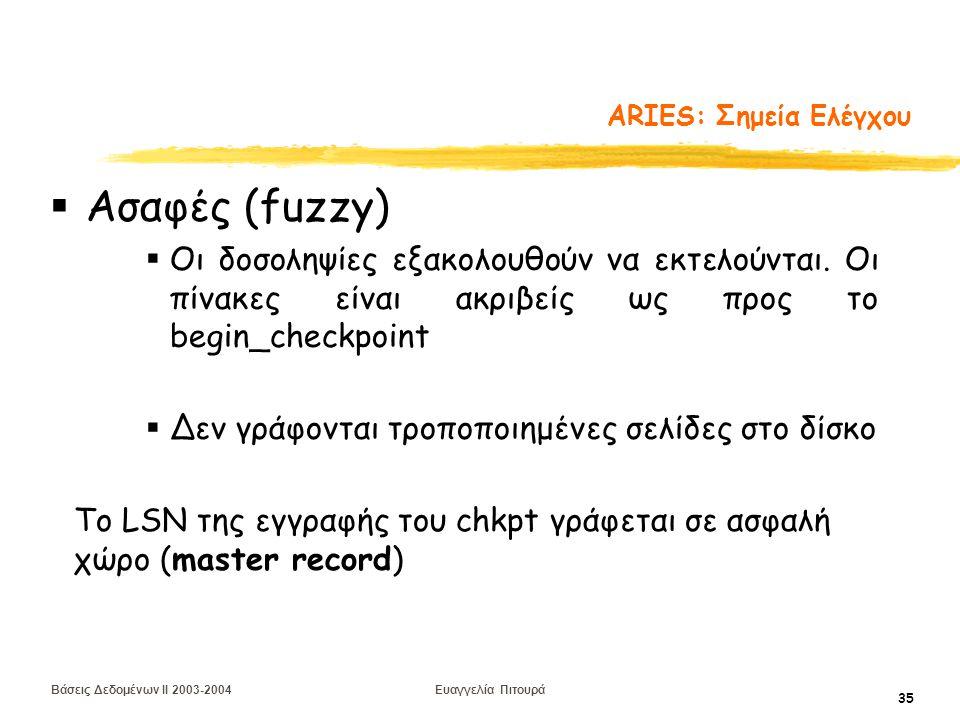 Βάσεις Δεδομένων II 2003-2004 Ευαγγελία Πιτουρά 35 ARIES: Σημεία Ελέγχου  Ασαφές (fuzzy)  Οι δοσοληψίες εξακολουθούν να εκτελούνται.