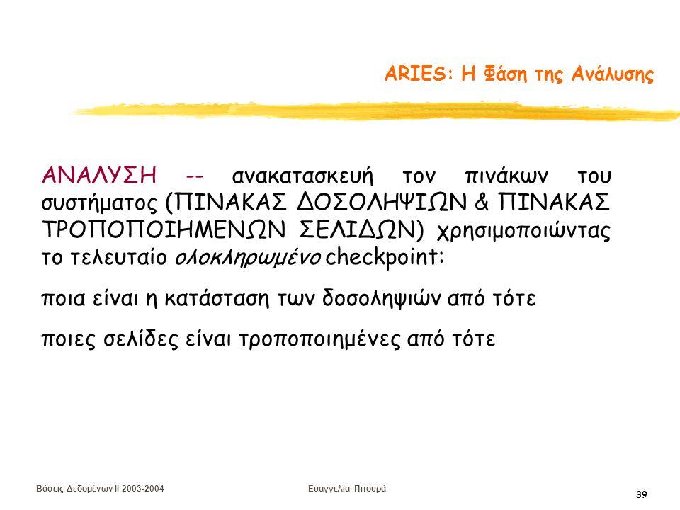 Βάσεις Δεδομένων II 2003-2004 Ευαγγελία Πιτουρά 39 ARIES: Η Φάση της Ανάλυσης ΑΝΑΛΥΣΗ -- ανακατασκευή τον πινάκων του συστήματος (ΠΙΝΑΚΑΣ ΔΟΣΟΛΗΨΙΩΝ & ΠΙΝΑΚΑΣ ΤΡΟΠΟΠΟΙΗΜΕΝΩΝ ΣΕΛΙΔΩΝ) χρησιμοποιώντας το τελευταίο ολοκληρωμένο checkpoint: ποια είναι η κατάσταση των δοσοληψιών από τότε ποιες σελίδες είναι τροποποιημένες από τότε