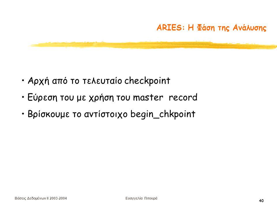 Βάσεις Δεδομένων II 2003-2004 Ευαγγελία Πιτουρά 40 ARIES: Η Φάση της Ανάλυσης Αρχή από το τελευταίο checkpoint Εύρεση του με χρήση του master record Βρίσκουμε το αντίστοιχο begin_chkpoint