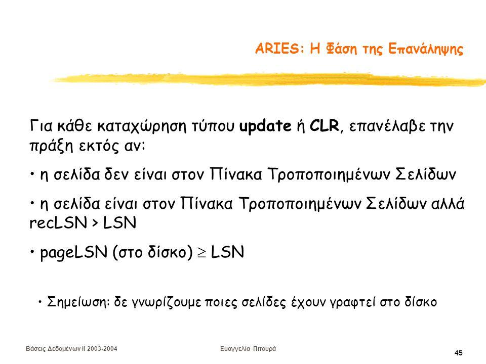 Βάσεις Δεδομένων II 2003-2004 Ευαγγελία Πιτουρά 45 ARIES: Η Φάση της Επανάληψης Για κάθε καταχώρηση τύπου update ή CLR, επανέλαβε την πράξη εκτός αν: η σελίδα δεν είναι στον Πίνακα Τροποποιημένων Σελίδων η σελίδα είναι στον Πίνακα Τροποποιημένων Σελίδων αλλά recLSN > LSN pageLSN (στο δίσκο)  LSN Σημείωση: δε γνωρίζουμε ποιες σελίδες έχουν γραφτεί στο δίσκο