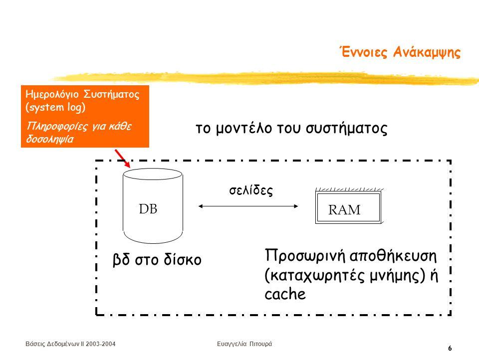 Βάσεις Δεδομένων II 2003-2004 Ευαγγελία Πιτουρά 7 Ημερολόγιο Συστήματος (Log) Για να είναι δυνατή η ανάκαμψη από αποτυχίες, καταχωρούνται πληροφορίες για τις πράξεις των δοσοληψιών Αποθηκεύονται στο δίσκο Τύποι πληροφορίας: έναρξη δοσοληψίας εγγραφή στοιχείου (παλιά, νέα τιμή) ανάγνωση στοιχείου επικύρωση/ακύρωση