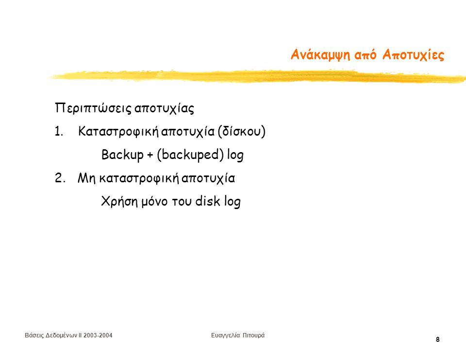 Βάσεις Δεδομένων II 2003-2004 Ευαγγελία Πιτουρά 19 Προεγγραφή Ημερολογίου Το πρωτόκολλο προεγγραφής ημερολογίου (Write Ahead Log) (1) Η καταχώρηση στο log για μια εγγραφή γράφεται στο δίσκο πριν οι αντίστοιχες σελίδες να γραφούν στο δίσκο (2) Πριν την επικύρωση (commit) μιας δοσοληψίας όλες οι καταχωρήσεις του log που την αφορούν γράφονται στο δίσκο Το (1) δίνει ατομικότητα Το (2) δίνει διάρκεια