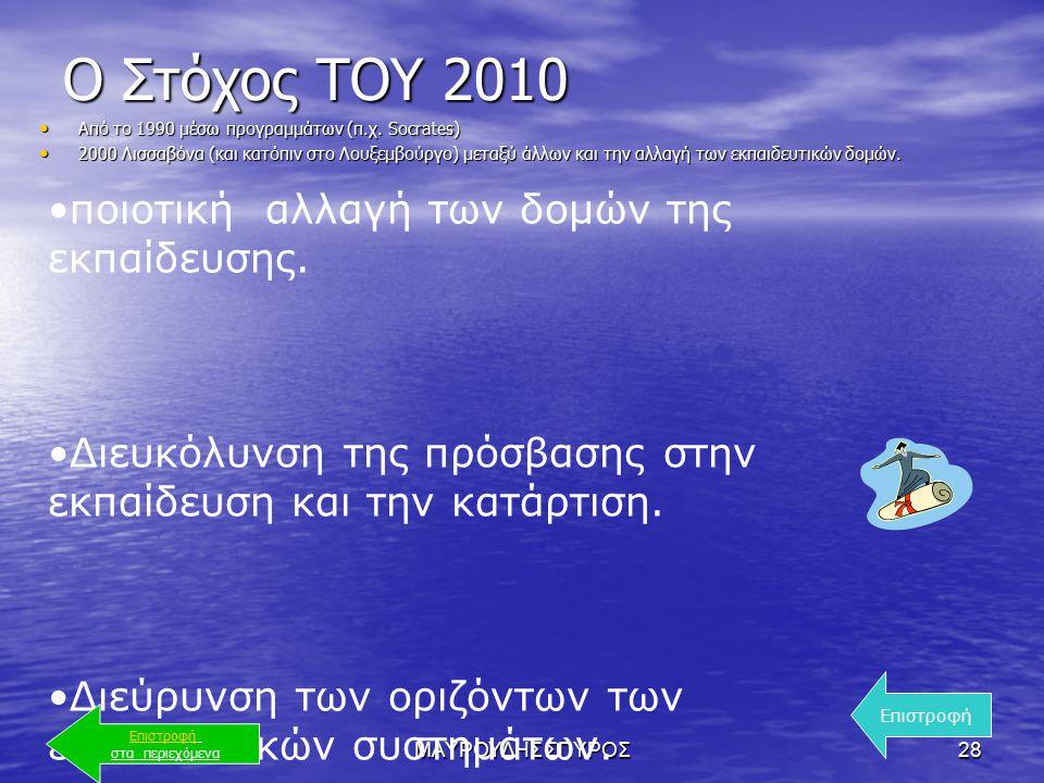 ΜΑΥΡΟΥΔΗΣ ΣΠΥΡΟΣ28 Ο Στόχος ΤΟΥ 2010 Από το 1990 μέσω προγραμμάτων (π.χ.