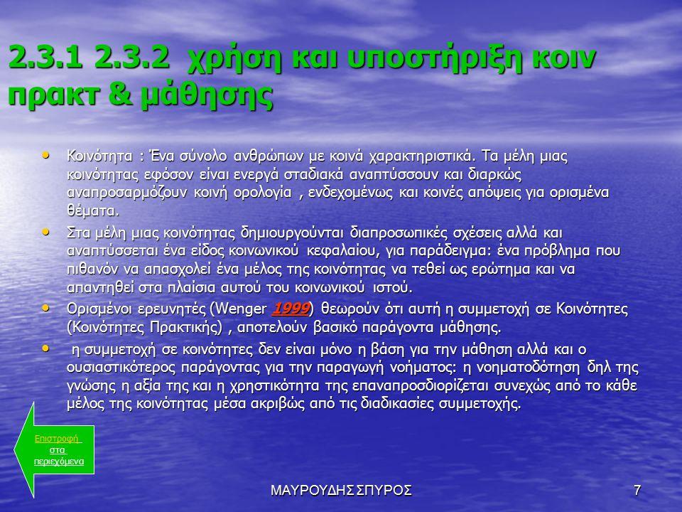 ΜΑΥΡΟΥΔΗΣ ΣΠΥΡΟΣ7 2.3.1 2.3.2 χρήση και υποστήριξη κοιν πρακτ & μάθησης Κοινότητα : Ένα σύνολο ανθρώπων με κοινά χαρακτηριστικά.
