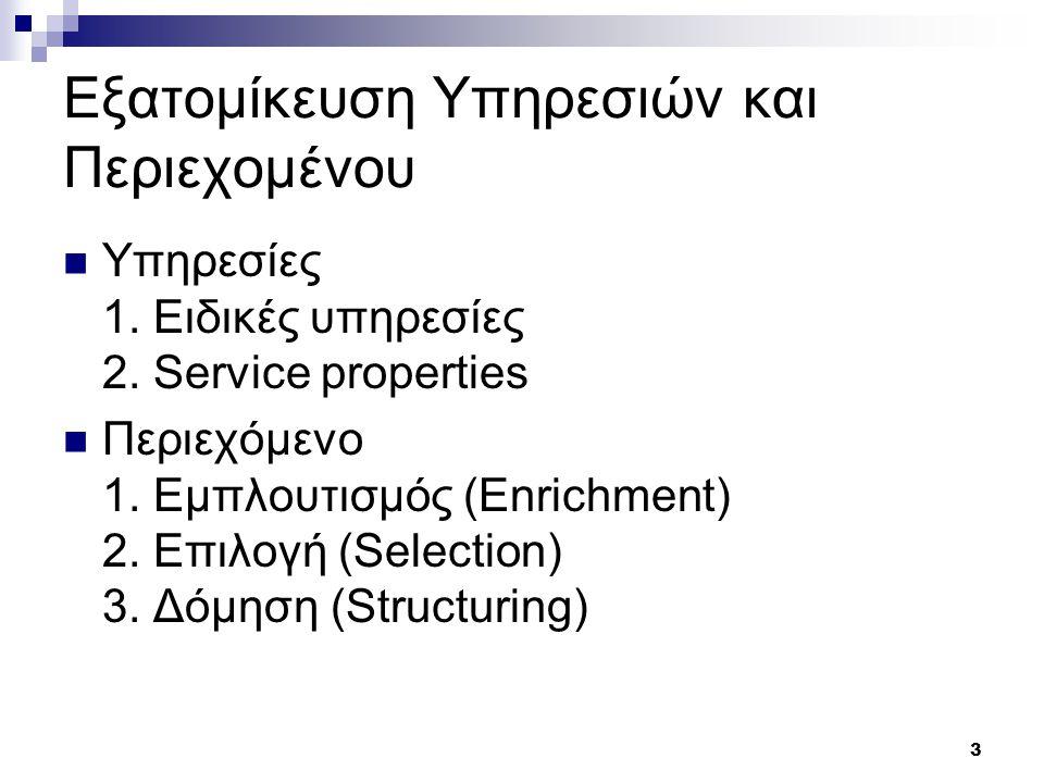 4 Εξατομίκευση Υπηρεσιών Ειδικές Υπηρεσίες 1.Notification 2.