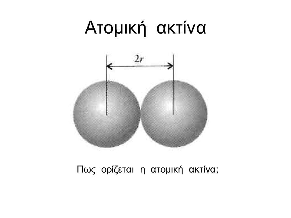 Ατομική ακτίνα Πως ορίζεται η ατομική ακτίνα;