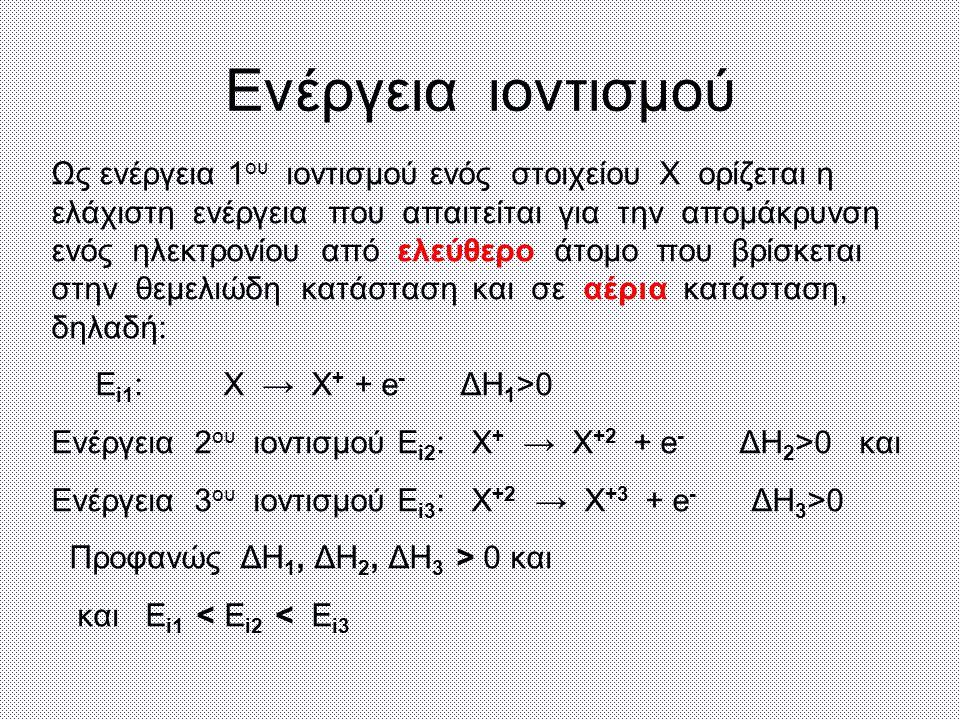Ενέργεια ιοντισμού Ως ενέργεια 1 ου ιοντισμού ενός στοιχείου Χ ορίζεται η ελάχιστη ενέργεια που απαιτείται για την απομάκρυνση ενός ηλεκτρονίου από ελεύθερο άτομο που βρίσκεται στην θεμελιώδη κατάσταση και σε αέρια κατάσταση, δηλαδή: Ε i1 : Χ → Χ + + e - ΔΗ 1 >0 Ενέργεια 2 ου ιοντισμού Ε i2 : Χ + → Χ +2 + e - ΔΗ 2 >0 και Ενέργεια 3 ου ιοντισμού Ε i3 : Χ +2 → Χ +3 + e - ΔΗ 3 >0 Προφανώς ΔΗ 1, ΔΗ 2, ΔΗ 3 > 0 και και Ε i1 < Ε i2 < Ε i3
