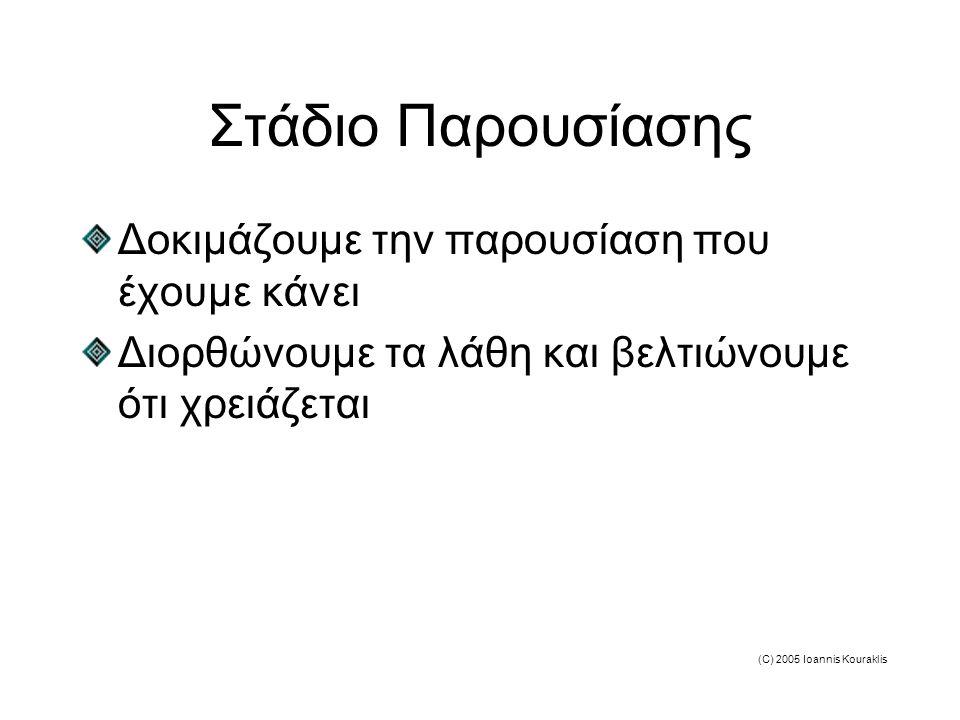 (C) 2005 Ioannis Kouraklis Στάδιο Παρουσίασης Δοκιμάζουμε την παρουσίαση που έχουμε κάνει Διορθώνουμε τα λάθη και βελτιώνουμε ότι χρειάζεται