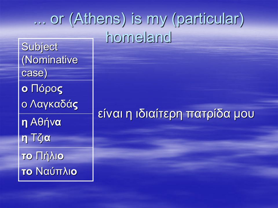 ... or (Athens) is my (particular) homeland είναι η ιδιαίτερη πατρίδα μου είναι η ιδιαίτερη πατρίδα μου Subject (Nominative case) ο Πόρος o Λαγκαδάς η