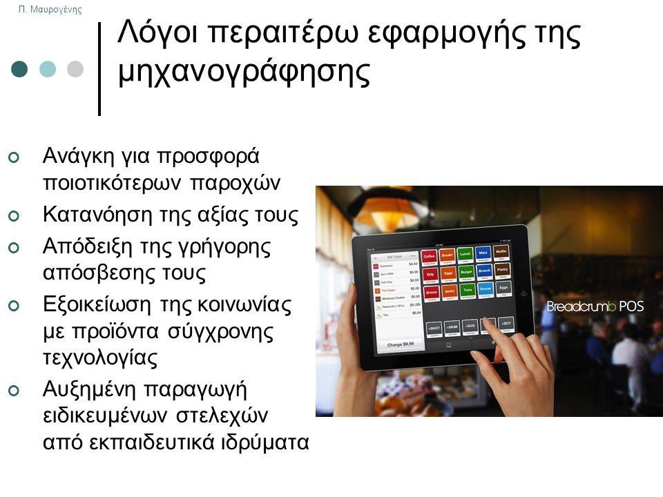 Π. Μαυρογένης Λόγοι περαιτέρω εφαρμογής της μηχανογράφησης Ανάγκη για προσφορά ποιοτικότερων παροχών Κατανόηση της αξίας τους Απόδειξη της γρήγορης απ
