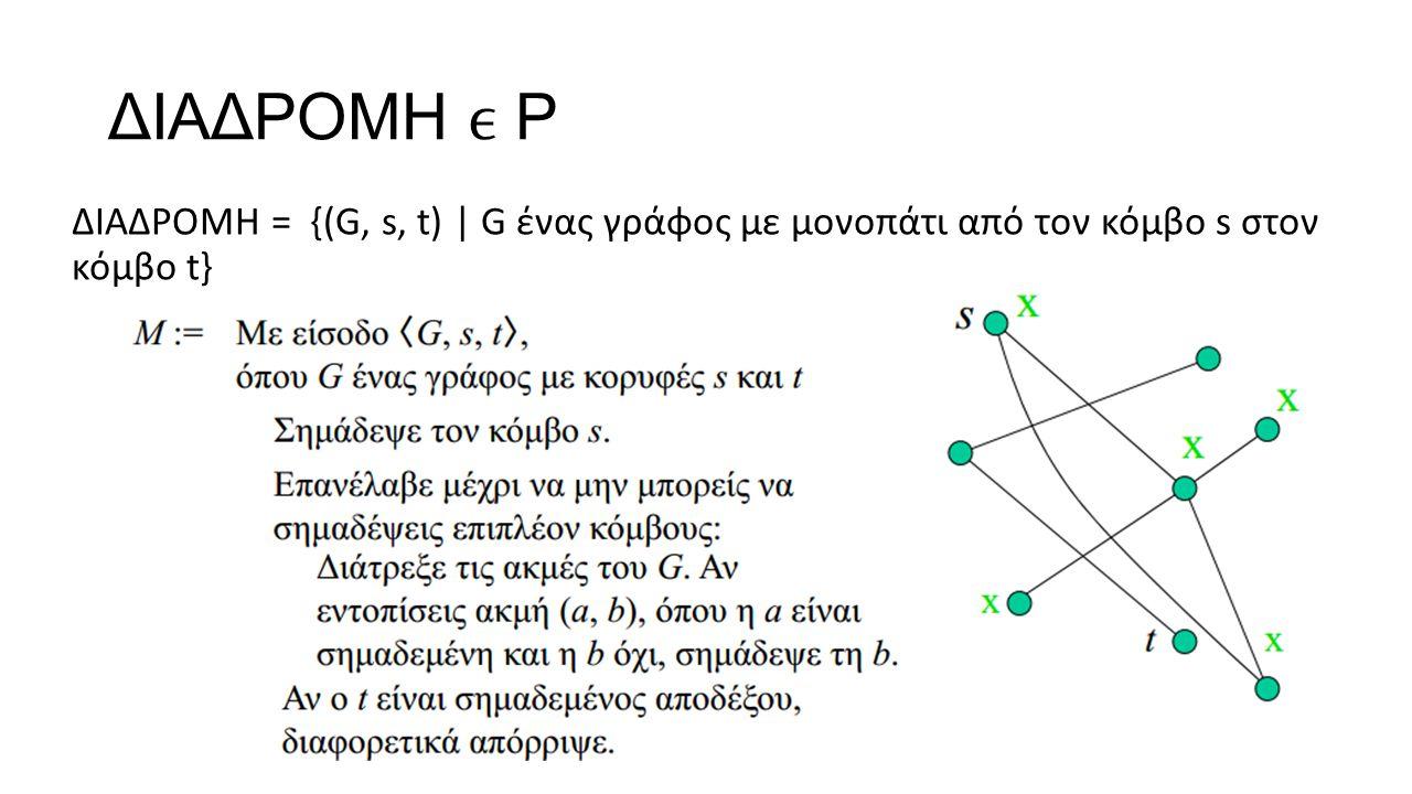 ΔΙΑΔΡΟΜΗ Ρ ΔΙΑΔΡΟΜΗ = {(G, s, t) | G ένας γράφος με μονοπάτι από τον κόμβο s στον κόμβο t}