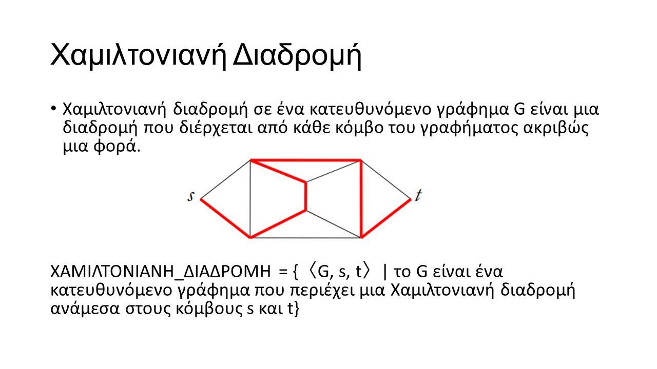 Χαμιλτονιανή Διαδρομή Χαμιλτονιανή διαδρομή σε ένα κατευθυνόμενο γράφημα G είναι μια διαδρομή που διέρχεται από κάθε κόμβο του γραφήματος ακριβώς μια φορά.