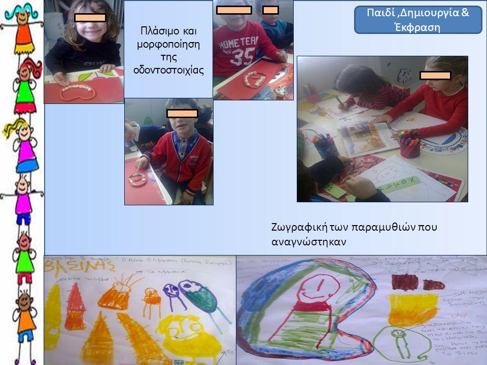 Παιδί,Δημιουργία & Έκφραση Ζωγραφική των παραμυθιών που αναγνώστηκαν Πλάσιμο και μορφοποίηση της οδοντοστοιχίας